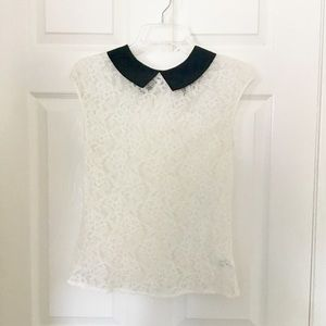 Express cream lace blouse with Peter Pan collar